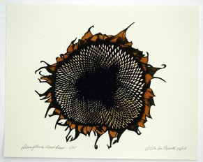Sunflower seed head signed on Arches 01
